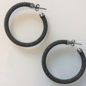 Kenneth Cole | Silver-Tone/Charcoal Hoop Earrings